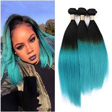 teal hair extensions 9a 1b green ombre hair extensions two tone color ombre