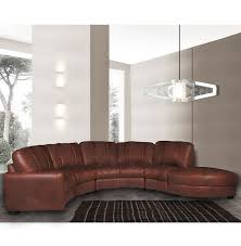 Contempo Leather Sofa by Jonathan Sectional Curved Sectional Sofa In Chestnut Leather