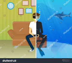 Home Design Vr by Happy Guy Sitting Home Doing Scuba Stock Vector 276949547