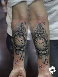 grey scale pocket watch tattoo skindeep best tattoo studio