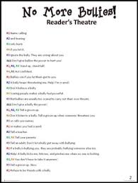 no more bullies reader s theatre script how to stop bullying by