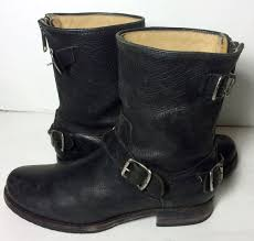 short black motorcycle boots frye 76601 veronica back zip short black leather motorcycle boots