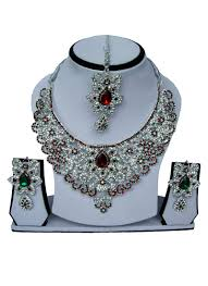 zircon necklace set images Buy tricolored zircon stone necklace set stones necklace online jpg