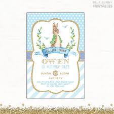 rabbit birthday invitation boy baptism invite blue and gold