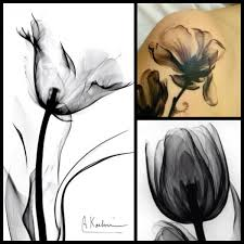x ray tattoo of a tulip going up the back of my calf or the inside