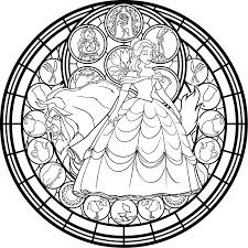 beauty beast stained glass rose coloring pages korzet