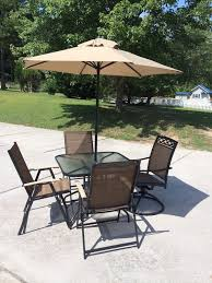 6 Piece Patio Set by New Patio Set 6 Piece Outside With Umbrella Glass Top Table 4