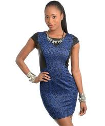 black royal blue dress bodycon cocktail club stretch cap sleeve