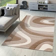 Schlafzimmer Creme Braun Designer Teppich Modern Kurzflor Mallorca Mit Wellen Muster In