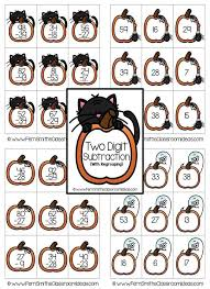 halloween two digit subtraction with regrouping center game