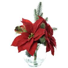 Red Flowers In A Vase Artificial Poinsettia Arrangement With Glass Bowl Vase Red 9