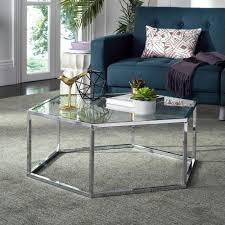 Glass And Chrome Coffee Table Safavieh Eliana Glass Chrome Coffee Table Mmt6003a The Home Depot