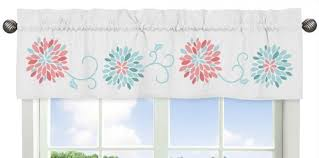 Coral Valance Curtains Amazon Com Sweet Jojo Designs Turquoise And Coral Emma