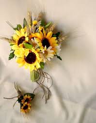 silk sunflowers sunflower bouquet twine wrap fall weddings silk bridal bouquet