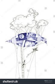 drawing air machine balloon floating stock illustration