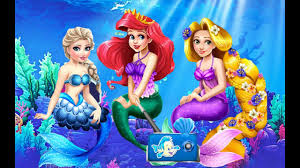 disney princess elsa u0026 rapunzel as mermaids at ariel u0027s birthday