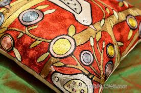 Cushion Covers For Sofa Pillows by Klimt Tree Of Life Birds Red Throw Pillow Cover Hand Embroidered