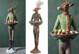 reindeer men statues holiday home decor antique farmhouse