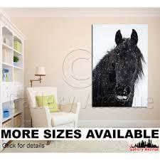 horse art print horse wall art horses friesian stallion mustang