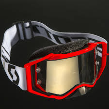motocross goggle new scott prospect mx red white black chrome tinted motocross