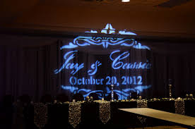 wedding backdrop name and groom s name and date projected on a wedding backdrop