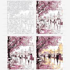 cherry blossoms road diy oil painting by numbers kits wall art