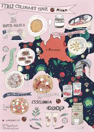 Milano Italy Map by Italy Culinary Tour Milan Illustrated Food Map Yaansoon
