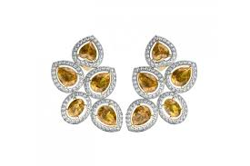 diamond earrings online buy yellow sapphire diamond earrings online in india at best