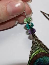 one side feather earring cook craft beaded peacock feather earrings diy tutorial