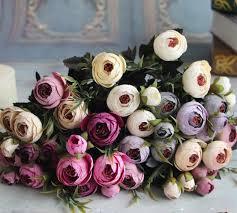 Silk Flower Centerpieces 6 Heads Silk Tea Rose Flower Arrangement Bridal Bouquet Artificial