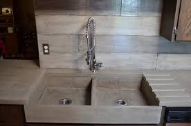 modern kitchen sink with drain boards and chrome faucet mode concrete modern contemporary kitchen waterfall lentine marine