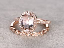 diamond wedding sets 1 8 to 2 carat oval morganite wedding set diamond bridal ring 14k