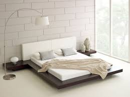 contemporary white japanese bed design with unique white floor