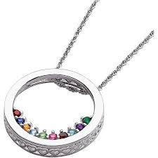 birthstone mothers necklace personalized women s sterling silver or 14k gold silver