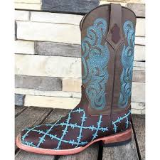 ferrini s boots size 11 ferrini brown square toe with turquoise barbwire stitching we