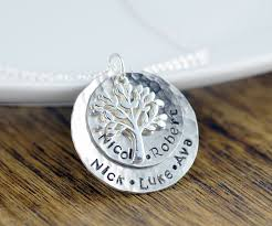 necklace with kids names silver family tree necklace s necklace tree of