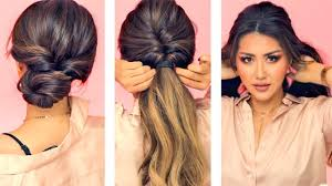 1 min everyday hairstyles for work with puff easy braids
