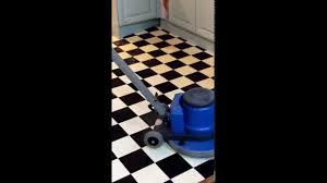 vinyl floor cleaning with single disc machine