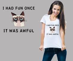 Grumpy Cat Meme I Had Fun Once - grumpy cat i had fun once it was awful meme ladies t shirt