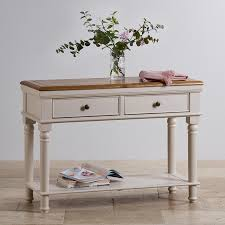 Painted Console Table Shay Rustic Oak And Painted Console Table Oak Furniture Land