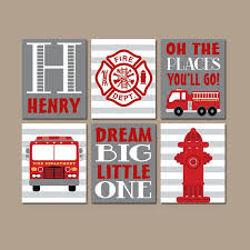 Firefighter Nursery Decor Truck Wall Canvas Or Prints Boy Nursery Firetruck Gray
