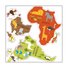 africa map fabric world map wall decal stickers for nursery petit collage