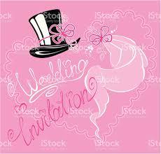 wedding invitation card with veil and groom hat stock vector art