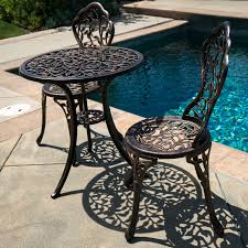 Outdoor Bistro Chairs 3pc Bistro Set Patio Table Chairs Ivory Furniture Balcony Pool