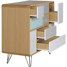 B O Rollcontainer Finebuy Sideboard Kuusamo Mit 9 Schubladen Retro Design Holz 80 X