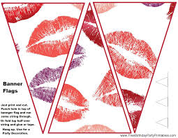 lipstick kisses flag bunting banner template free birthday party