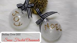 dollar tree diy snow frosted ornaments