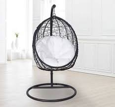 Patio Egg Chair Basket Hanging Chair Brown Rattan With Black Padded Cushion