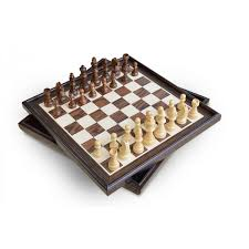 natural wood veneer deluxe chess set