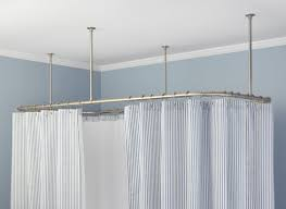 Polished Nickel Curtain Rods Shower Satiating Corner Shower Rod Bronze Riveting Corner Shower